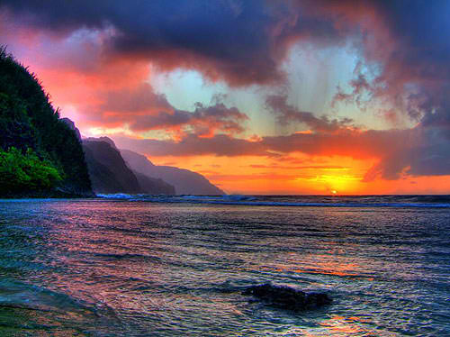 Sunset at Kee Beach in Kauai, Hawaii